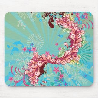 Trendy aqua pink ocean swirls mousepad
