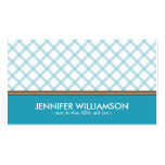 Trendy Aqua Plaid Mommy Calling Card Double-Sided Standard Business Cards (Pack Of 100)
