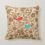 Trendy Aqua Red Brown Vintage Modern Floral Bird Throw Pillow