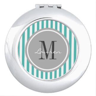 Trendy Aqua Stripes Personalized Compact Mirror