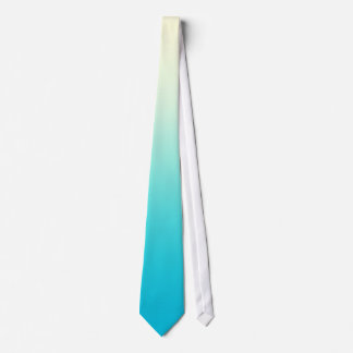 Trendy Aqua Teal to Vintage White Ombre Gradient Tie
