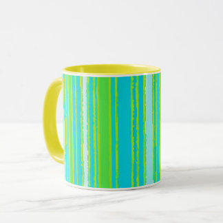 Trendy Aqua Turquoise Lime Green Stripes Pattern Mug