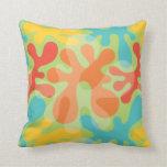 Trendy Aqua Yellow Aqua Organic Pattern Pillow