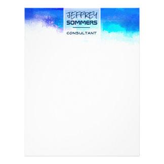 Trendy Aquamarine Cerulean Blue Minimal Watercolor Letterhead