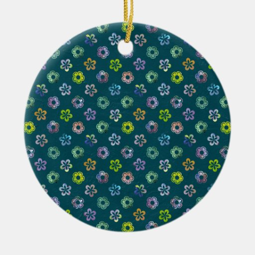 Trendy Artistic Watercolor Floral Pattern Double-Sided Ceramic Round Christmas Ornament