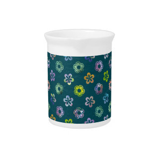 Trendy Artistic Watercolor Floral Pattern Pitchers