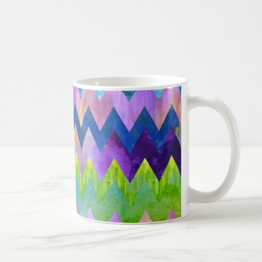Trendy Artsy Watercolor Painting Chevron Pattern Mugs