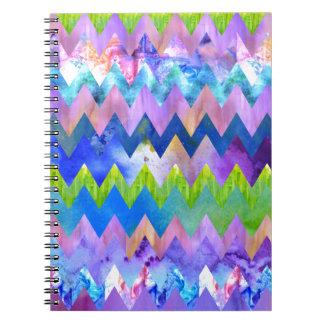 Trendy Artsy Watercolor Painting Chevron Pattern Notebooks
