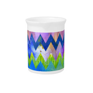 Trendy Artsy Watercolor Painting Chevron Pattern Drink Pitcher