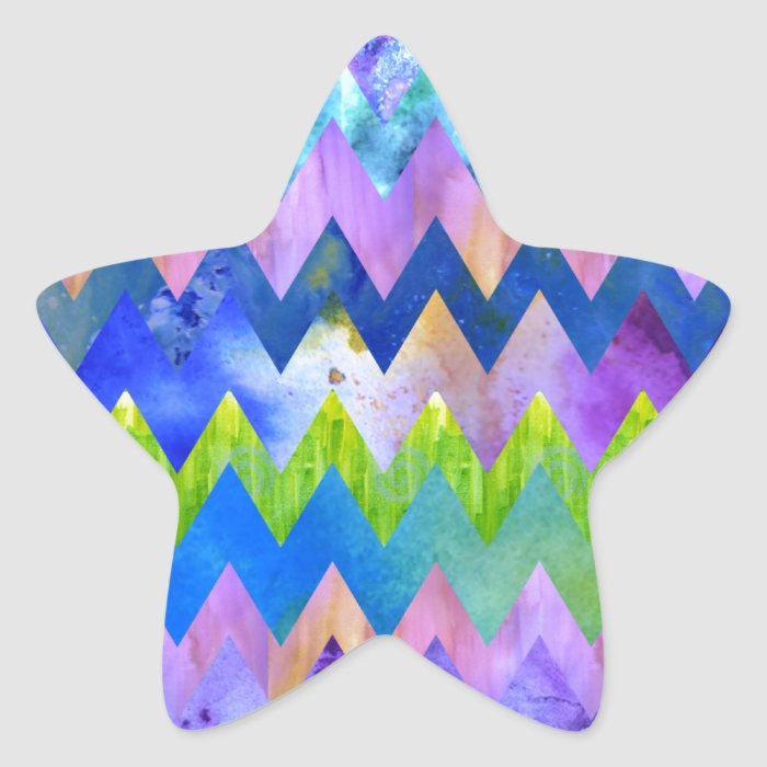 Trendy Artsy Watercolor Painting Chevron Pattern Star Sticker