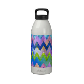 Trendy Artsy Watercolor Painting Chevron Pattern Drinking Bottles