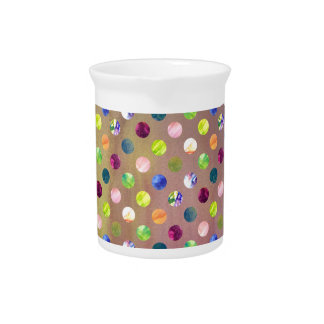 Trendy Artsy Watercolor Painting Polka Dot Pattern Drink Pitchers