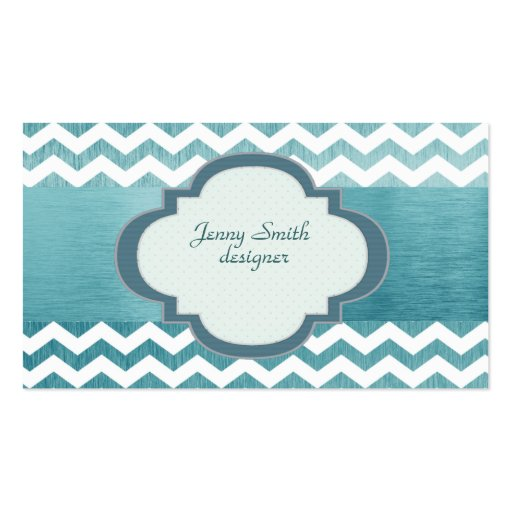 Trendy  attractive chevron silvery blue business card
