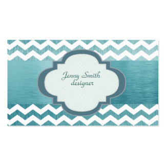 Trendy  attractive chevron silvery blue Double-Sided standard business cards (Pack of 100)