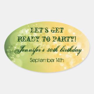 Trendy Avocado Green Bokeh Party Sticker