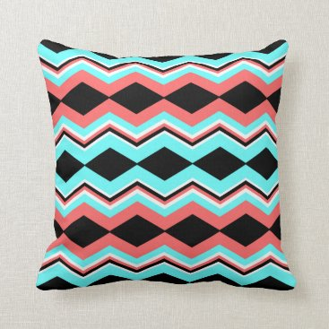 Aztec Themed Trendy Aztec; Black, White, Coral & Teal Chevron Throw Pillow