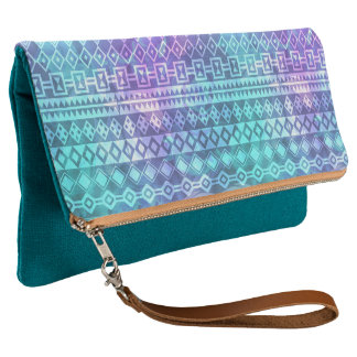 Trendy Aztec Blue and Teal Pattern Print Clutch
