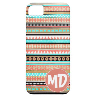 Trendy aztec custom monogram iPhone 5 case