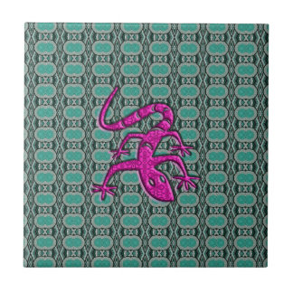 Trendy Aztec Lizzard in Pink and Teal Ceramic Tile
