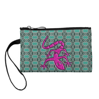 Trendy Aztec Lizzard in Pink and Teal Change Purse