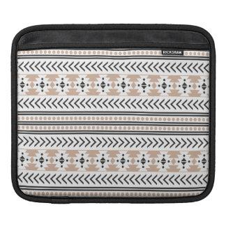 Trendy Aztec Tribal Print Geometric Pattern Almond iPad Sleeve