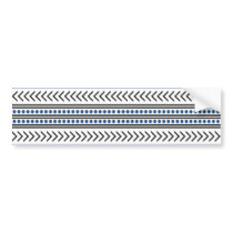 Trendy Aztec Tribal Print Geometric Pattern Blue Bumper Sticker