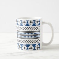 Trendy Aztec Tribal Print Geometric Pattern Blue Classic White Coffee Mug
