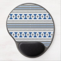 Trendy Aztec Tribal Print Geometric Pattern Blue Gel Mouse Pad