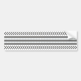 Trendy Aztec Tribal Print Geometric Pattern Gray Bumper Sticker