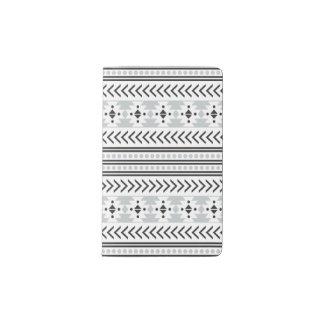 Trendy Aztec Tribal Print Geometric Pattern Gray Pocket Moleskine Notebook