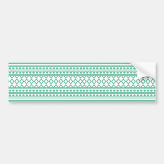 Trendy Aztec Tribal Print Geometric Pattern|Green Bumper Sticker