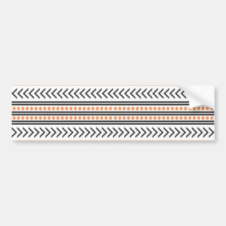 Trendy Aztec Tribal Print Geometric Pattern|Orange Car Bumper Sticker