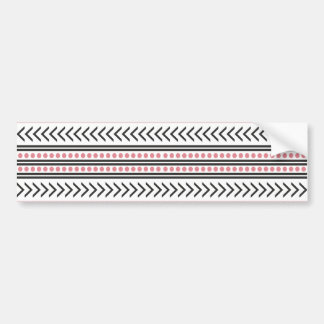 Trendy Aztec Tribal Print Geometric Pattern Pink Bumper Sticker