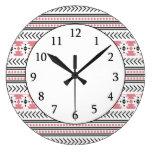 Trendy Aztec Tribal Print Geometric Pattern Pink Clock
