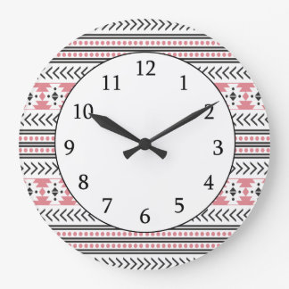 Trendy Aztec Tribal Print Geometric Pattern Pink Large Clock