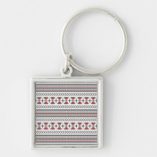 Trendy Aztec Tribal Print Geometric Pattern Red Silver-Colored Square Keychain