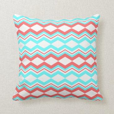 Aztec Themed Trendy Aztec; White, Coral & Teal Chevron Throw Pillow