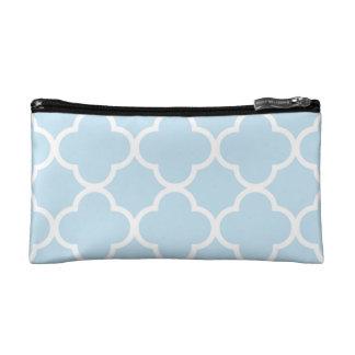 Trendy Baby Blue Quatrefoil Pattern Makeup Bag