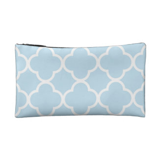 Trendy Baby Blue Quatrefoil Pattern Makeup Bag