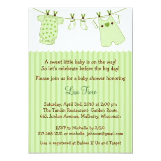 Trendy Baby Clothes Baby Shower Invitations