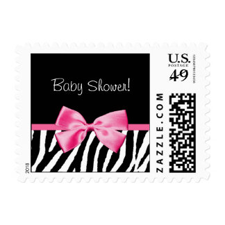 Trendy Baby Shower Zebra Print Pink Ribbon Postage