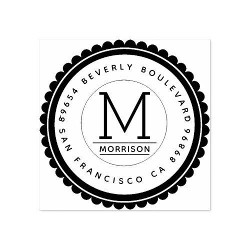 Trendy Badge  Custom Monogram Return Address Rubber Stamp