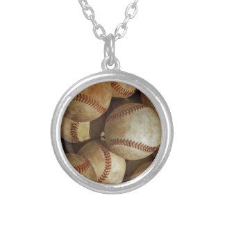 Trendy Baseball Artwork Round Pendant Necklace