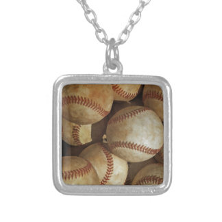 Trendy Baseball Artwork Square Pendant Necklace