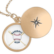 Trendy baseball mom gold plated necklace