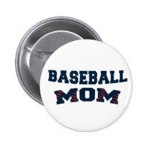 Trendy baseball mom pinback button