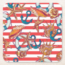 Trendy Beach Pattern Square Paper Coaster