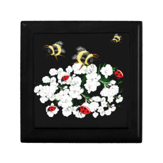 Trendy Bees on Flowers nature art accessories Jewelry Box