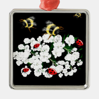 Trendy Bees on Flowers nature art accessories Christmas Ornament
