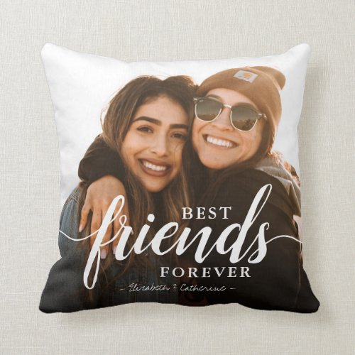 Trendy Best Friends Forever Elegant Script Photo Throw Pillow